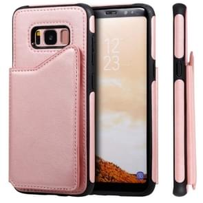 Voor Galaxy S8 Shockproof Calf Texture Protective Case met Holder & Card Slots & Frame(Rose Gold)