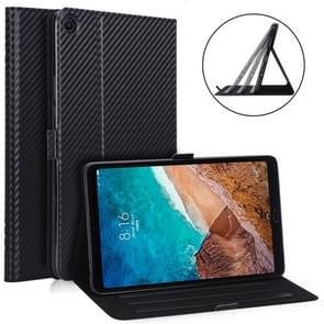 WY-1595A Voor Xiaomi Mi Pad 4 Plus / 10 1 inch 2018 Ultradunne Carbon Fiber PU LEDEREN Tablet PC Beschermhoes met multi-position bracket functie (Zwart)