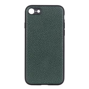 Voor iPhone SE 2020 Litchi Texture Genuine Leather Folding Protective Case (Groen)