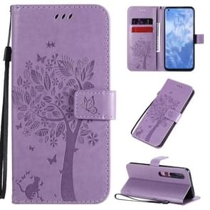 Voor Xiaomi Mi 10 5G / Mi 10 Pro 5G Tree & Cat Patroon Geperst Afdrukken Horizontaal Flip PU Lederen Hoes met Holder & Card Slots & Wallet & Lanyard(Light Purple)
