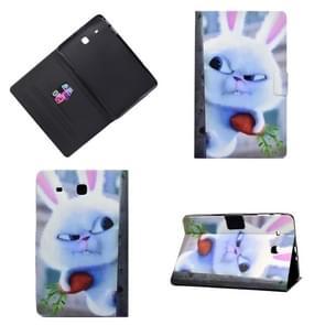 Horizontaal geschilderde platte leren kast met pencover & kaartslot & houder(White Rabbit)