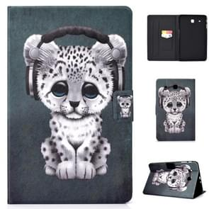 Elektrisch horizontaal TPU Painted Platte Veerkast met Pen Cover & Card Slot & Holder(Music Leopard)