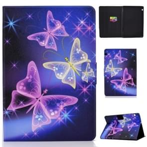Elektrisch horizontaal TPU Painted Platte Veerkast met Pen Cover & Card Slot & Holder (Starry Sky Butterfly)