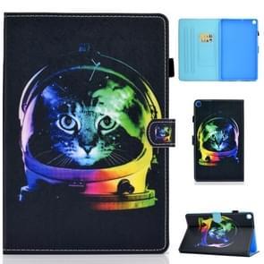 Voor Galaxy Tab S6 Lite Naaidraad Horizontaal geschilderde platte lederen case met slaapfunctie & penhoes & Anti Skid Strip & Card Slot & Holder(Space Cat)