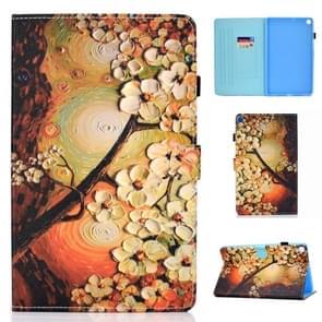 Voor Galaxy Tab S6 Lite Naaidraad Horizontaal geschilderd e-mes met penhoes & anti slipstrip & kaartsleuf & houder(pruimenbloesem)