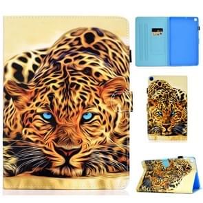 Voor Galaxy Tab S6 Lite Naaidraad Horizontaal geschilderd e-lederen hoes met penhoes & Anti Skid Strip & Card Slot & Holder(Lion)