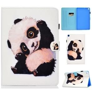 Voor Galaxy Tab S6 Lite Naaidraad Horizontaal geschilderd e-lederen hoes met penhoes & Anti Skid Strip & Card Slot & Holder(Beckoning Panda)
