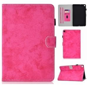 Voor Galaxy Tab S6 Lite Naaidraad Horizontale effen kleur Platte lederen behuizing met slaapfunctie & penhoes & anti slipstrip & kaartsleuf & houder (rose red)