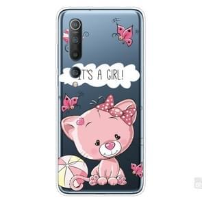 Voor Xiaomi Mi 10 Pro 5G Schokbestendig geschilderd transparante TPU beschermhoes (Cute Cat)