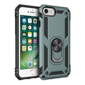 Voor iPhone SE (2020) Shockproof TPU + PC Beschermhoes met 360 graden roterende houder (groen)