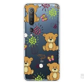 Voor Xiaomi Mi 10 Pro 5G Schokbestendig geschilderd transparante TPU beschermhoes (Little Brown Bear)
