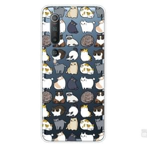 Voor Xiaomi Mi 10 Pro 5G Shockproof Painted Transparent TPU Protective Case (MIni Cats)