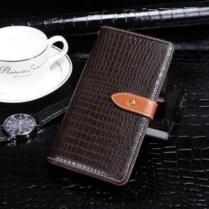 Voor Xiaomi Mi 10 Pro idewei Crocodile Texture Horizontal Flip Leather Case met Holder & Card Slots & Wallet(Donkerbruin)