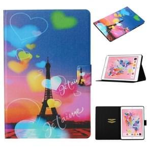 Voor iPad Air / Air 2 Gekleurd tekenpatroon Horizontaal Flip Lederen Hoes met Houder & Card Slot & Sleep / Wake-up Function(Romantic Tower)