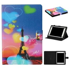 Voor 8 inch Tablet PC Universal Coloured Drawing Pattern Horizontal Flip Leather Case met Holder & Card Slot(Romantic Tower)