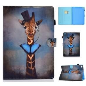 Voor iPad Air 2 Horizontale TPU Painted Flat Feather Case Anti-slip strip met Sleep Function & Pen Cover & Card Slot & Holder(Herten)