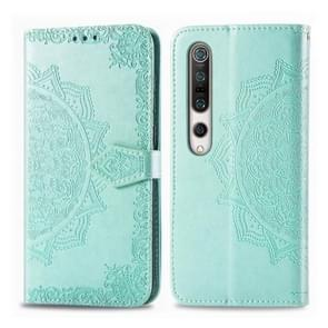 Voor Xiaomi Mi 10 5G Embossed Mandala Pattern PC + TPU Horizontal Flip Leather Case met Holder & Card Slots (Groen)