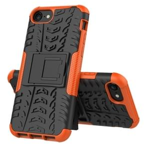 Voor iPhone SE 2020 Tire Texture Shockproof TPU+PC Protective Case with Holder(Orange)