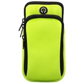Voor smartphones onder 6 0 inch Rits Double Pocket Multi-functie Sport arm tas met oortelefoon gat (groen)
