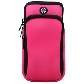 Voor smartphones onder 6 0 inch Rits Double Pocket Multi-functie Sport arm tas met oortelefoon gat (roze)