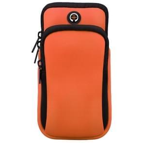 Voor smartphones onder 6 0 inch Rits Double Pocket Multi-functie Sport arm tas met oortelefoon gat (Oranje)