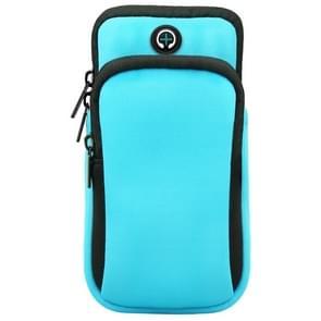 Voor smartphones onder 6 0 inch Zipper Double Pocket Multi Function Sports Arm Bag met oortelefoon Gat (Sky Blue)