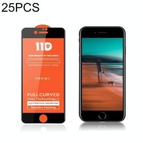 Voor iPhone SE 2 25 PCS mietubl Krasbestendig 11D HD Full Glue Full Curved Screen Tempered Glass Film