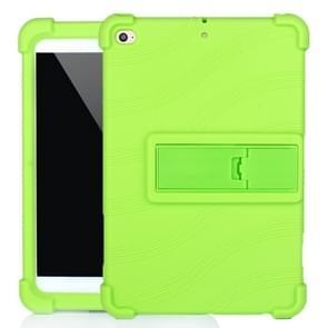 Voor iPad mini 5 / 4 Tablet PC Siliconen beschermhoes met onzichtbare beugel(groen)