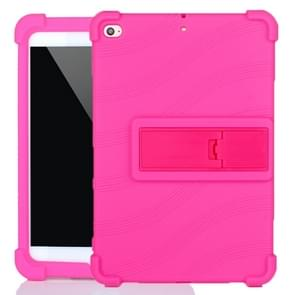 Voor iPad mini 5 / 4 Tablet PC Siliconen beschermhoes met onzichtbare beugel (Rose Red)