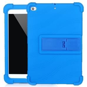 Voor iPad mini 5 / 4 Tablet PC Siliconen beschermhoes met onzichtbare beugel (donkerblauw)