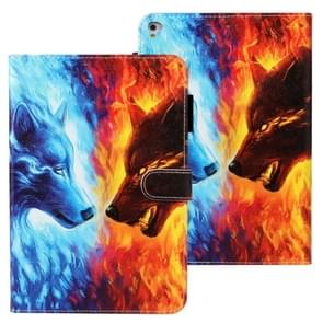 Voor iPad Air Cross Texture Painted Horizontal Leather Case with Sleep / Wake-up Function & Card Slot & Wallet(Flame Wolf)