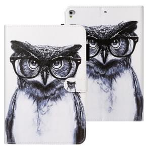 Voor iPad Air Cross Texture Painted Horizontal Leather Case with Sleep / Wake-up Function & Card Slot & Wallet(Black Owl)