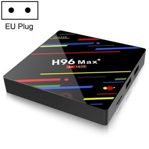 H96 Max+ 4K Ultra HD LED DISPLAY Media Player Smart TV Box met Afstandsbediening  Android 9.0  Voice Version  RK3328 Quad-Core 64bit Cortex-A53  2GB+16GB  TF Card / USBx2 / AV / Ethernet  Plug Specification:EU Plug