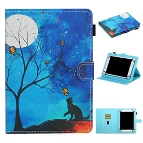 Voor 8 inch Universal Tablet PC Colored Drawing Pattern Horizontale Flip Lederen Case met Holder & Card Slots (Moonlight Cat)