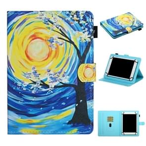 Voor 8 inch Universal Tablet PC Colored Drawing Pattern Horizontale Flip Lederen Case met Holder & Card Slots (Starry Sky Tree)