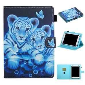 Voor 8 inch Universal Tablet PC Colored Drawing Pattern Horizontale Flip Lederen Case met Holder & Card Slots (Tiger)