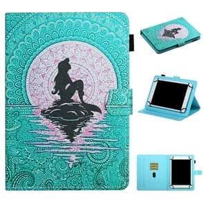 Voor 8 inch Universal Tablet PC Colored Drawing Pattern Horizontale Flip Lederen Case met Holder & Card Slots (Mermaid)