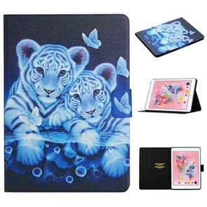 Voor iPad 5 Gekleurd tekenpatroon Horizontaal Flip Lederen hoesje met Holder & Card Slots & Sleep / Wake-up Function(Tiger)
