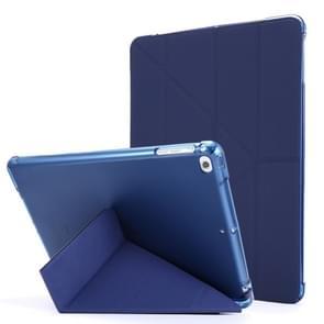 Voor iPad Air 2 Airbag Vervorming horizontale flip lederen behuizing met houder & penhouder(donkerblauw)