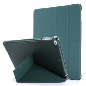 Voor iPad Air 2 Airbag Vervorming Horizontale Flip Lederen Behuizing met houder & penhouder(Donkergroen)