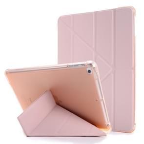Voor iPad Air 2 Airbag Vervorming Horizontale Flip Lederen Behuizing met houder & penhouder(roze)