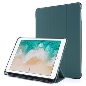 Voor iPad Air 2 Airbag Horizontale Flip Lederen Behuizing met drievoudige houder & penhouder(Donkergroen)
