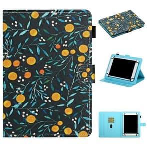 Voor 8 inch Universal Tablet PC Flower Pattern Horizontale Flip Lederen case met kaartslots & houder (geel fruit)