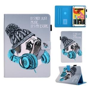 Voor 8 inch Universal Tablet PC Colored Drawing Pattern Horizontale Flip Lederen Case met Holder & Card Slots & Anti-skid Strip(Music Dog)