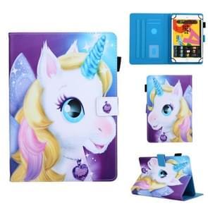 Voor 8 inch Universal Tablet PC Colored Drawing Pattern Horizontale Flip Lederen Case met Holder & Card Slots & Anti-skid Strip(Unicorn)