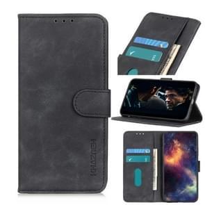 Voor iPhone 12 6 1 inch KHAZNEH Retro Texture PU + TPU Horizontale Flip Lederen case met Holder & Card Slots & Wallet(Zwart)