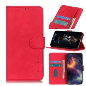 Voor iPhone 12 6 1 inch KHAZNEH Retro Texture PU + TPU Horizontale Flip Lederen case met Holder & Card Slots & Wallet(Rood)