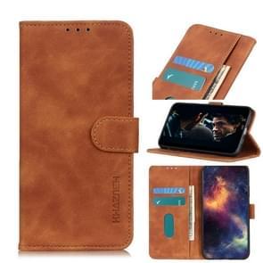 Voor iPhone 12 6 1 inch KHAZNEH Retro Texture PU + TPU Horizontale Flip Lederen case met Holder & Card Slots & Wallet(Bruin)