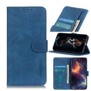 Voor iPhone 12 6 7 inch KHAZNEH Retro Texture PU + TPU Horizontale Flip Lederen case met Holder & Card Slots & Wallet(Blauw)