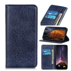 Voor iPhone 12 5 4 inch Magnetic Crazy Horse Texture Horizontale Flip Lederen case met Holder & Card Slots & Wallet(Blauw)